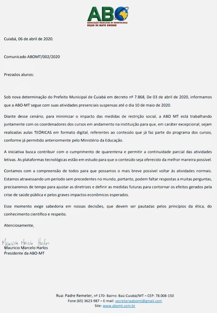 COMUNICADOS AOS ALUNOS – 06/04/20