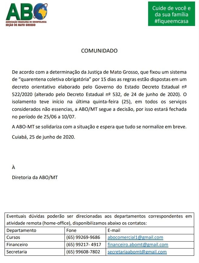 Comunicado- 25/06/2020